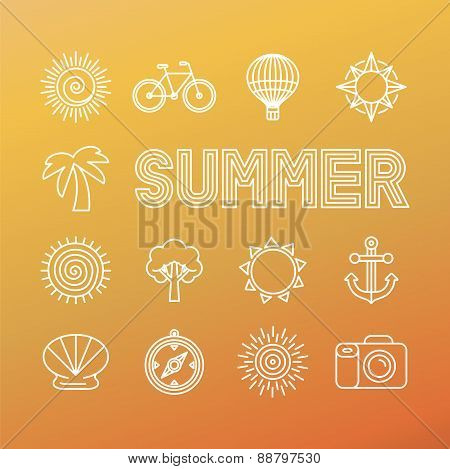 Vector Summer Banner And Background In Trendy Linear Style