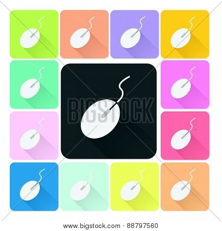 Mouse Icon Color Set Vector Illustration.