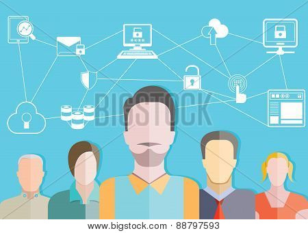 people teamwork and data network concept