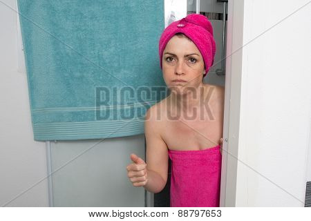 Woman Upset Covering Her Body With Towel