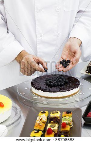Chef Preparing Cake