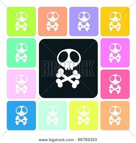 Skull Icon Color Set Vector Illustration