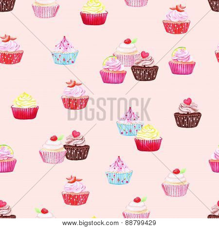 Delicate Cupcakes Watercolor Seamless Vector Print