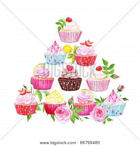 Colorful Cupcakes Vector Pyramid Design Element