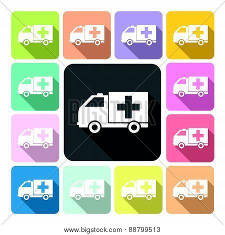 Ambulance Icon Color Set Vector Illustration