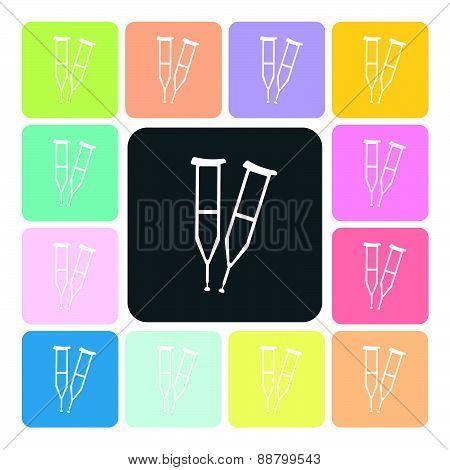 Crutches Icon Color Set Vector Illustration