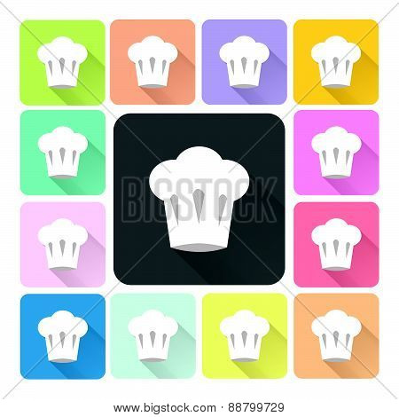 Chef Hat Icon Color Set Vector Illustration