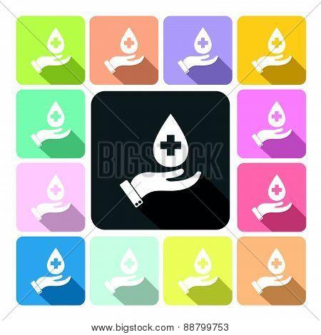 Hand Holding Diagnostics Icon Color Set Vector Illustration