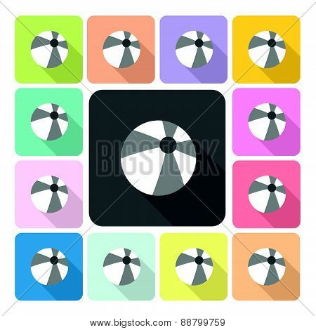 Ball Icon Color Set Vector Illustration