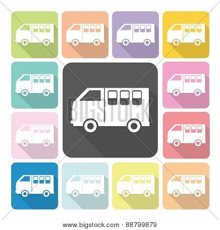 Van Icon Color Set Vector Illustration