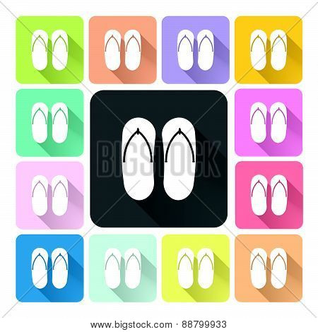 Sandals Icon Color Set Vector Illustration.