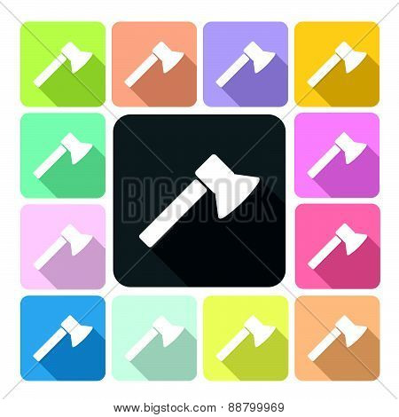 Axe Icon Color Set Vector Illustration