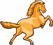 stock photo of colt  - Illustration of a colt horse prancing viewed from rear set on isolated white background done in retro style - JPG