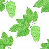 pic of brew  - Watercolor seamless pattern with hops on the white background - JPG