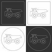 image of dump-truck  - Dump truck line icons - JPG