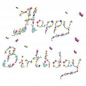 foto of asymmetric  - Spring Happy Birthday Sign In Color with floral elements - JPG