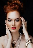 stock photo of ombre  - beauty stylish redhead woman with hairstyle and manicure wearing jewelry pearl close up - JPG