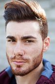 foto of beard  - Portrait of casual cool young man with beard   - JPG