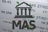 stock photo of macroeconomics  - Building icon with inscription MAS - JPG