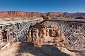 image of old bridge  - The new and the old Navajo Bridges side by side over the Colorado River by Lee - JPG
