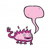 image of demons  - cartoon little fire demon with speech bubble - JPG