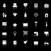 picture of fibonacci  - Art and creation icons with reflect on black background stock vector - JPG