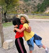 foto of reunited  - american girl reunited with her mexican friend - JPG