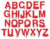 foto of gruesome  - Alphabets in uppercase with vector illustration of red blood isolated on white background - JPG