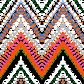 foto of zigzag  - Striped hand painted vector seamless pattern with ethnic and tribal motifs - JPG