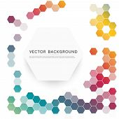 foto of hexagon  - Vector abstract color 3d hexagonal - JPG