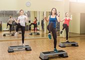 stock photo of step aerobics  - Group of women making step aerobics in the fitness class - JPG