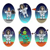 picture of space suit  - Astronaut in space suit and alien emotions cartoon characters set isolated vector illustration - JPG