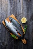foto of brook trout  - Fresh trout with lemon and rosemary - JPG