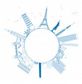 picture of world-famous  - Outline Famous monuments and landmarks around the world - JPG