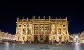 stock photo of turin  - Palazzo Madama in Turin at night  - JPG