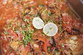 pic of buffet  - Egyptian fish tagine on display at a restaurant buffet - JPG