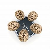 stock photo of microprocessor  - Human brain and microprocessor - JPG