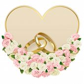 picture of solemn  - Wedding Card with roses and golden rings isolated on white background - JPG