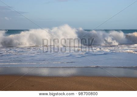 Waves during storm in strong wind