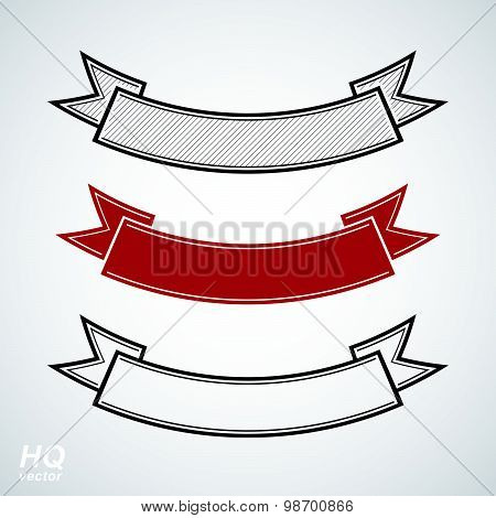 Three undulate vector festive ribbons, classic design stripe. Decorative curvy element, winner