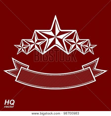Vector monarch symbol. Festive graphic emblem with five pentagonal stars and curvy ribbon