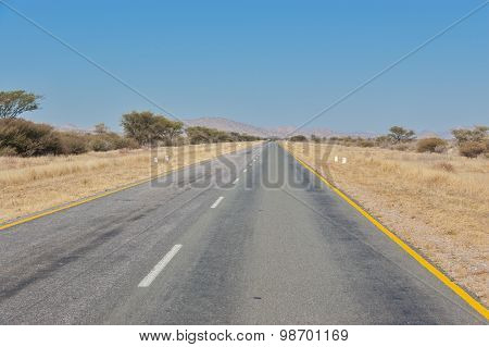 Road and savanna landscape, South Africa