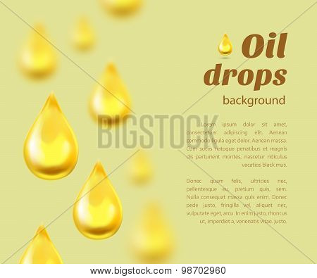 Oil Drops Background With Place For Text. Vector Illustration
