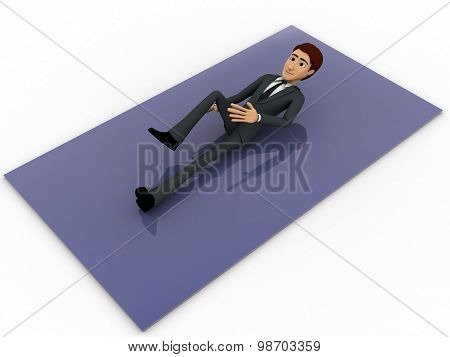 3D Man Lying And Exercising Concept