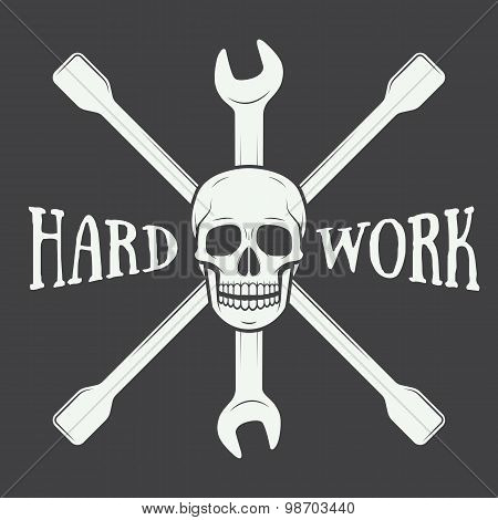 Vintage Vector Mechanic Logo Label With Skull, Wrench.