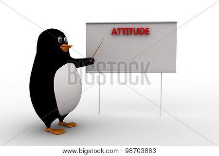 3D Penguin Presenting Attitude Text On Board Concept
