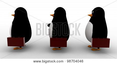 3D Penguin Standing Over Puzzles Which Is Carried By Group Of Penguins Concepts