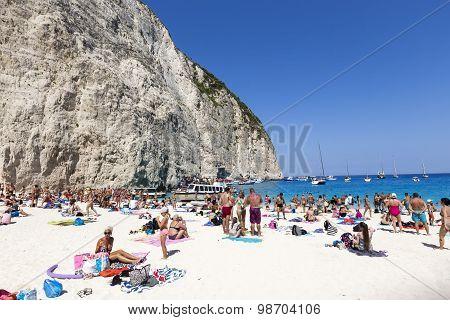 View Of Navagio (shipwreck) Beach In Zakynthos