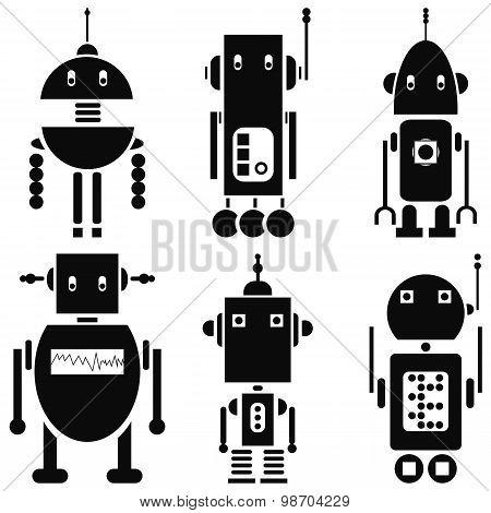 Vintage retro robots 2 icons set in black and white set of 6  ( set A)