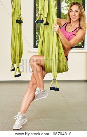 portrait with Antigravity yoga hammock